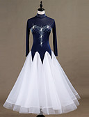 preiswerte Tanzkleidung für Balltänze-Für den Ballsaal Kleider Damen Leistung Elasthan / Organza Kombination / Kristalle / Strass Langarm Kleid