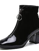 billige Damedunjakker og anorakker-Dame Fashion Boots PU Efterår Afslappet Støvler Kraftige Hæle Støvletter Sort / Rød