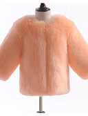 povoljno Jakne i kaputi za djevojčice-Djeca Dijete koje je tek prohodalo Djevojčice Osnovni Jednobojni Dugih rukava Umjetno krzno Jakna i kaput Red