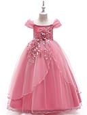 preiswerte Kleider für die Blumenmädchen-Kinder Mädchen Aktiv / Süß Party / Festtage Solide Kurzarm Maxi Kleid Rote 150