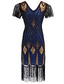 olcso Lány ruhák-Nagy Gatsby Vintage 1920-as Tomboló húszas évek Jelmez Női Flapper ruha Kék / Aranyozott / Piros+Aranysárga Régies (Vintage) Cosplay Poliészter Parti Diákbál Rövid ujjú Pillangó Térdig érő / Flitter