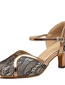 billige Aftenkjoler-Dame Moderne sko Syntetisk Høye hæler Spenne / Sided Hollow Out Kubansk hæl Dansesko Gull / Svart
