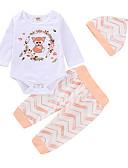 billige Sett med babyklær-Baby Jente Aktiv / Grunnleggende Daglig / Ut på byen Trykt mønster Langermet Normal Bomull / Polyester Tøysett Hvit