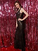 baratos Vestidos de Noite-Tubinho Decote V Longo Tule / Paetês Frente Única Baile de Formatura / Evento Formal Vestido com Lantejoulas de TS Couture®