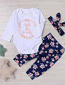 cheap Girls' Clothing Sets-Baby Girls' Active / Street chic Daily / Holiday Floral Print Long Sleeve Regular Regular Cotton Clothing Set Blue / Toddler