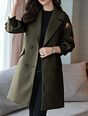 cheap Women's Coats & Trench Coats-Women's Work Long Coat, Floral / Botanical Peter Pan Collar Long Sleeve Polyester Brown / Camel / Army Green L / XL / XXL
