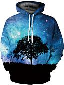 お買い得  メンズフーディー&スウェットシャツ-男性用 パンク&ゴシック / 誇張された プラスサイズ パンツ - 3D プリント ブルー / ラウンドネック / 長袖 / 秋