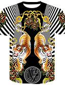 abordables Camisetas y Tops de Hombre-Hombre Chic de Calle / Punk & Gótico Discoteca Tallas Grandes Estampado Camiseta, Escote Redondo Floral / Bloques / Animal Tigre Negro XXL / Manga Corta / Verano