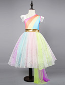 cheap Girls' Dresses-Kids / Toddler Girls' Active / Sweet Party / Holiday Rainbow Sleeveless Asymmetrical Dress Rainbow