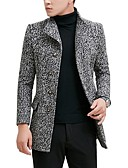 cheap Men's Jackets & Coats-Men's Work Basic Fall / Winter Regular Pea Coat, Solid Colored Turndown Long Sleeve Wool / Cotton Dark Gray / Gray / Light gray XL / XXL / XXXL / Slim