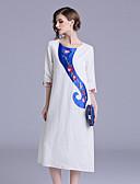 povoljno Ženske haljine-Žene Vintage / Kinezerije Swing kroj Haljina - Vezeno, Cvjetni print Midi
