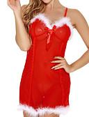 رخيصةأون Women's Sexy Clothing-عيد الميلاد نسائي مثير بدلات ملابس نوم دانتيل / شريطة, لون سادة