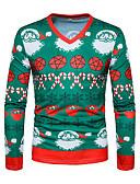 povoljno Muške majice i potkošulje-Majica s rukavima Muškarci Božić / Dnevno Geometrijski oblici V izrez / Dugih rukava