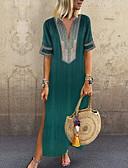 abordables Vestidos Maxi-Mujer Tallas Grandes Básico Boho Algodón Corte Ancho Túnica Vestido - Estampado, Un Color Maxi Escote en V Profunda