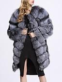cheap Women's Fur & Faux Fur Coats-Women's Work / Party / Cocktail Street chic / Sophisticated Winter Plus Size Long Fur Coat, Solid Colored / Striped Round Neck Long Sleeve Faux Fur / Spandex Patchwork Gray XXL / XXXL / XXXXL / Sexy