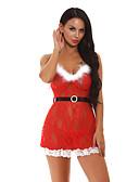 olcso Melltartók-Női Szuper szexi Ruhák Hálóruha - Csipke, Karácsony Egyszínű