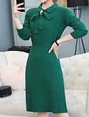 billige Kjoler til brudens mor-kvinder går ud slank sweater kjole midi besætning hals