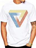 billige T-shirts og undertrøjer til herrer-Rund hals Herre - Grafisk Bomuld, Trykt mønster Basale Sport T-shirt Magiske Kuber Regnbue XL / Kortærmet