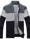 cheap Men's Sweaters & Cardigans-Men's Daily Color Block Long Sleeve Regular Cardigan Blue / Dark Gray / Light gray XL / XXL / XXXL