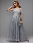 hesapli Gece Elbiseleri-A-Şekilli Illüzyon boyun çizgisi Yere Kadar Dantelalar Payet ile Balo / Resmi Akşam Elbise tarafından TS Couture® / Pullu ve Işıltılı
