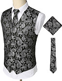 cheap Men's Ties & Bow Ties-Men's Party / Work / Club Business / Vintage Spring / Fall / Winter Regular Vest, Paisley V Neck Sleeveless Cotton / Spandex Print Silver XL / XXL / XXXL / Business Casual / Slim