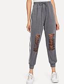 abordables Pantalones para Mujer-Mujer Básico Chinos Pantalones - Un Color / A Rayas Negro