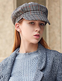 זול כובעים לנשים-כובע כומתה (בארט) / כובע קלושה\עם שוליים רחבים / כובע קסקט - Houndstooth וינטאג' / מסיבה בגדי ריקוד נשים