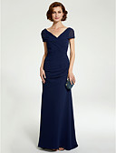 povoljno Maturalne haljine-A-kroj V izrez Do poda Šifon Haljina za majku mladenke s Čipka / Nabori po LAN TING BRIDE®
