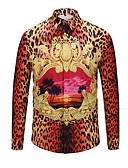 זול חולצות לגברים-גיאומטרי / נמר / 3D פאנק & גותיות חוף חולצה - בגדי ריקוד גברים / שרוול ארוך