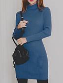 billige Lang Kjole Sweater-Dame Tynd Bukser - Ensfarvet Høj Talje Blå