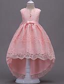 Χαμηλού Κόστους Λουλουδάτα φορέματα για κορίτσια-Πριγκίπισσα Ασύμμετρο / Ουρά Φόρεμα για Κοριτσάκι Λουλουδιών - Πολυεστέρας / Δαντέλα / Τούλι Αμάνικο Λαιμόκοψη V με Φιόγκος(οι) / Δαντέλα / Διακοσμητικά με LAN TING Express