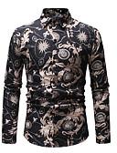 hesapli Erkek Kıravatları ve Papyonları-Erkek Gömlek Desen, Zıt Renkli İş / Sokak Şıklığı Kulüp Siyah XL / Uzun Kollu