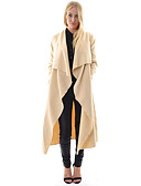 cheap Women's Coats & Trench Coats-Women's Sports Long Trench Coat, Solid Colored V Neck Long Sleeve Cotton / Polyester Black / Beige L / XL / XXL
