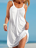 זול סרבלים ואוברולים לנשים-לבן כתפיה מיני אחיד - שמלה ישרה בסיסי חוף בגדי ריקוד נשים