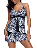 cheap Women's Swimwear & Bikinis-Women's Basic Strap Black Boy Leg Tankini Swimwear - Polka Dot / Floral Print XL XXL XXXL / Sexy