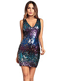 cheap Women's Dresses-Women's Sequins Party Slim Bodycon Dress - Color Block Sequin Sequins High Waist Deep V Spring Cotton Blue Red Purple L XL XXL