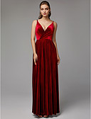 cheap Prom Dresses-A-Line V Neck Floor Length Velvet Formal Evening Dress with Split Front / Pleats by TS Couture®
