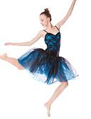 preiswerte Eiskunstlaufkleider-Ballett Kleider Damen Leistung Elasthan / Spitze / Tüll Spitze / Plissee / Kombination Ärmellos Hoch Haarschmuck / Kleid