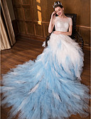 cheap Wedding Dresses-Princess Bateau Neck Chapel Train Lace / Tulle Made-To-Measure Wedding Dresses with Lace by LAN TING Express / Beautiful Back