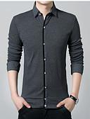 お買い得  新着 メンズシャツ-男性用 プラスサイズ シャツ ソリッド / 長袖