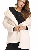 cheap Women's Fur & Faux Fur Coats-Women's Work / Club Sexy / Punk & Gothic Winter Plus Size Long Fur Coat, Solid Colored Black & Gray Shirt Collar Long Sleeve Faux Fur / Polyester Beige / Yellow / Fuchsia XL / XXL / XXXL