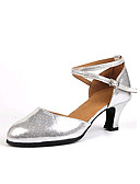 cheap Women's Sexy Clothing-Women's Modern Shoes Leatherette Heel Customized Heel Customizable Dance Shoes Black / Silver / Indoor