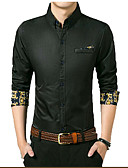 お買い得  メンズTシャツ&タンクトップ-男性用 ワーク シャツ ビジネス / ベーシック ソリッド / 幾何学模様 コットン / 長袖
