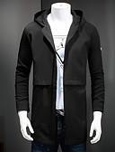 זול גברים-ג'קטים ומעילים-בגדי ריקוד גברים פול שחור 4XL XXXXXL XXXXXXL בלשית ארוך מידות גדולות סגנון רחוב אחיד עם קפוצ'ון / שרוול ארוך