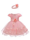 tanie Sukienki dla niemowląt-Dziecko Dla dziewczynek Aktywny / Podstawowy Impreza / Urodziny Solidne kolory Koronka Krótki rękaw Nad kolano Bawełna / Poliester Sukienka Biały