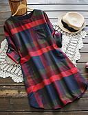 billige Kjoler med trykk-Dame Store størrelser Skjorte Kjole - Rutet, Trykt mønster Knelang