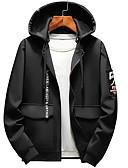 お買い得  メンズTシャツ&タンクトップ-男性用 ストリートファッション プラスサイズ パンツ - ソリッド / 幾何学模様 ブラック / フード付き / 長袖