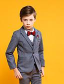 ราคาถูก ชุดสูทสำหรับเด็ก-สีเทา POLY แหวนสูทถือ - 4 ชิ้น รวม แจ๊คเก็ต / เสื้อกั๊ก / กางเกง