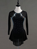 cheap Ice Skating Dresses , Pants & Jackets-Figure Skating Dress Women's / Girls' Ice Skating Dress Black Spandex, Stretch Yarn High Elasticity Training / Competition Skating Wear Quick Dry, Anatomic Design, Handmade Classic Long Sleeve
