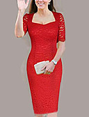 cheap Cocktail Dresses-Women's Plus Size Daily Elegant Skinny Sheath Dress - Solid Colored Lace Square Neck Red Beige XXXXXXL 8XL 9XL / Sexy